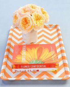 Turn an old and ugly cookie sheet into a decorative tray with Martha Stewart