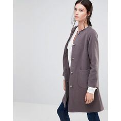 Helene Berman Collarless Swing Coat In Taupe (£96) ❤ liked on Polyvore featuring outerwear, coats, cream, helene berman and helene berman coat