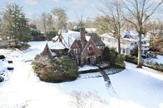 Snowy English Tudor at 414 Stewart Avenue, Garden City Long Island NY