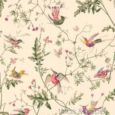 papel pintado colibris crema