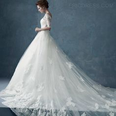 Luxurious Cathedral Off the Shoulder Short Sleeves Lace Wedding Dress Wedding Dresses 2014- ericdress.com 11110871