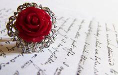 Red Rose Ring Silver Filigree Ring Adjustable Ring by Aranwen