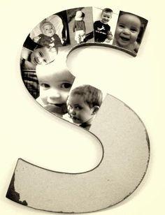 Billiges Vatertagsgeschenk pêle mêle photos à faire soi-même - un monogramme décoré de photos d& Diy Photo, Photo Craft, Photo Ideas, Diy And Crafts, Crafts For Kids, Diy Buttons, Decorating With Pictures, Button Crafts, Diy Gifts