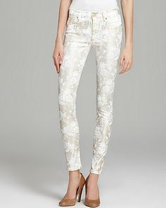 7 For All Mankind Jeans - The Floral Spray Lace Skinny | Bloomingdale's