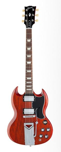 Gibson USA Anniversary SG 1961 Electric Guitar with Sideways Tremolo, Heritage Cherry Sg Guitar, Guitar Pics, Guitar Body, Guitar Amp, Cool Guitar, Gibson Electric Guitar, Cool Electric Guitars, Gibson Guitars, Les Paul