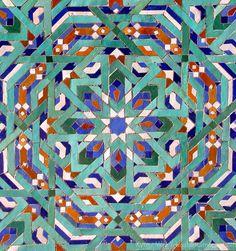 Hassan II Mosque Mosaic Tile Detail, Casablanca, Morocco.
