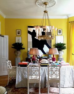 Daffodil yellow graces the walls, inspired by a room designed by Victoria Hagan. This room is vibrant & boldly traditional with a contemporary edge. A delightfully unexpected pairing that defines the soulful quality often associated with New Orleans.