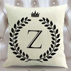 1PC 26 Letter Alphabet Crown Pattern Cotton Linen Cushion Cover Decorative Pillowcase Chair Pillow Cover Sofa Decoration #Affiliate