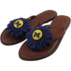 Michigan Wolverines Womens Daisy Flower Sandals - Brown