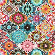 Multicolored bohemian geometric pattern. Flower Power with a modern twist. Bright and colorful mandalas in a geometric grid.