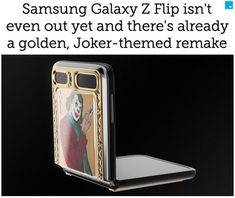 Samsung's foldable phone, the Galaxy Z Flip, is still in rumor stage, but that didn't stop Russian jeweler Caviar unveiling a pricy, Joker-themed version. Cool Technology, Joker And Harley Quinn, Tech Gadgets, Flipping, Finding Yourself, Playing Cards, Samsung Galaxy, Caviar, Characters