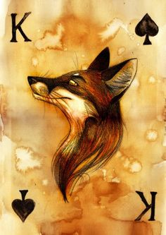King of Spades by Culpeo-Fox on deviantART - work with computer and watercolor? Fox Drawing, Painting & Drawing, Art Plastic, Fuchs Tattoo, King Of Spades, Fox Illustration, Fox Tattoo, Desenho Tattoo, Fox Art