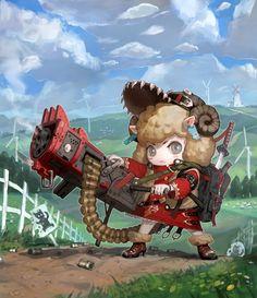 Sheep girl Picture (2d, cartoon, sheet, girl, with gun)