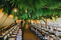 Rainforest tiPi wedding Hanging foliage installations