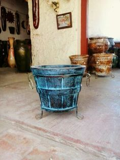 Blue Color pot with iron.