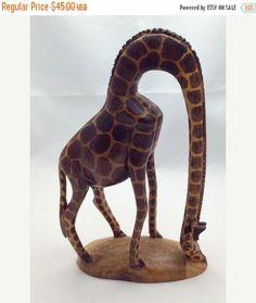 Graceful Vintage Hand Carved Giraffe  Carved Wood  by Pastfinds