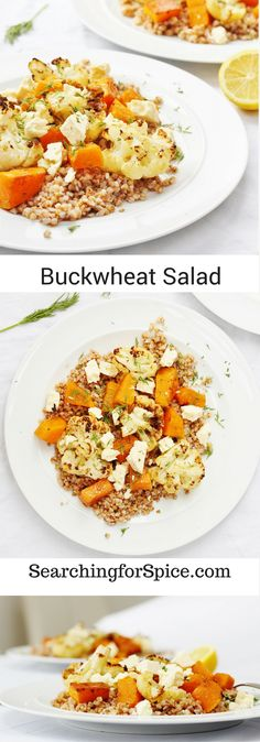 Vegetarian buckwheat salad with spiced roasted butternut squash and cauliflower. Topped with crumbly white cheese. For a vegan option replace the cheese with chickpeas. Healthy Salad Recipes, Vegetarian Recipes, Vegetarian Salad, Vegetarian Dinners, Vegetable Recipes, Healthy Foods, Roasted Butternut, Butternut Squash, Side Dish Recipes