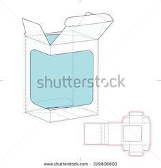 Retail Box with Product Display Window Cut and Die Line template