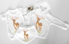 Baby Deer Personalised 3 piece baby shower gift set woodland animal New baby Newborn personalsied gift set Hoodie bandana bib vest Baby gifts Most Beautiful Child, Beautiful Children, Baby Gift Sets, New Baby Gifts, Baby Girl Fashion, Kids Fashion, Bandana Bib, Baby Deer, Baby Newborn