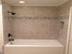 Tile Bathroom Tub Ideas in love with wallpaper | small half baths, small bathroom and half
