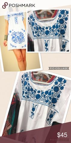 New Mexican Traditional Dress Floral Embroidery New, white fabric with blue floral embroidery, short sleeves, short lenght, mini dress, ethnic boho style! Size Medium. Unique One-of-a-Kind Cielito Lindo  Dresses Mini