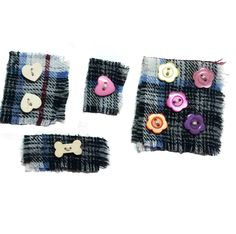Buttons on cotton fabric for sewing on to Sensory Mitts