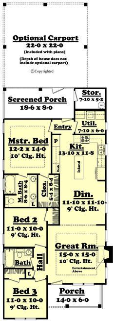 Cottage Style House Plan - 3 Beds 2.00 Baths 1300 Sq/Ft Plan #430-40 Floor Plan - Main Floor Plan