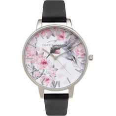 Olivia Burton 'Painterly Prints' Leather Strap Watch, 38mm (2,330 MXN) ❤ liked on Polyvore featuring jewelry, watches, gold tone jewelry, olivia burton, gold tone watches, polish jewelry and leather strap watches
