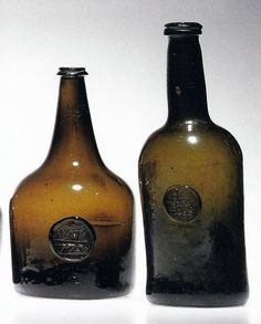 Enough dated bottles exist to show their development from their beginnings in the mid-17th century to the establishment of the cylindrical form a hundred years later. Early bottles were free-blown but probably marvered on the floor to produce an angular shoulder. Shorter necks followed in the 1680s, with globular shapes around 1700, and mallet shapes in the 1720s.