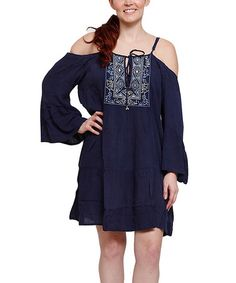 Loving this Navy Embroidered Off-Shoulder Dress - Plus on #zulily! #zulilyfinds