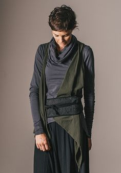 Melba vest olive - okay, would have to lose 50 lbs. to wear this, but like the look.