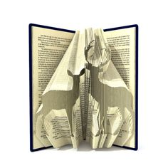 Book folding pattern - PAIR of DEER - 256 folds + Tutorial with Simple pattern - Heart - AN1005