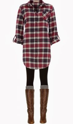 Long Check Shirt, Black Legging, And Long Boots