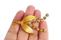 Brosche Vintage gold Strassbrosche Blütenbrosche