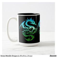 Green Metallic Dragon Two-Tone Coffee Mug Beer Mugs, Coffee Mugs, Photo Mugs, Colorful Backgrounds, Color Pop, Create Your Own, Coasters, Best Gifts, Metallic