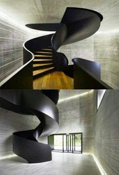 futuristische treppen gestaltungsideen wie geöffnetes rohr