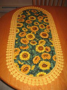 CUSTOM ORDER - Aunt Roo's Sunflower toss fabric table runner w/ crocheted edging...