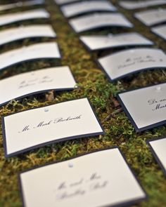Seating cards are pinned onto a bed of moss.