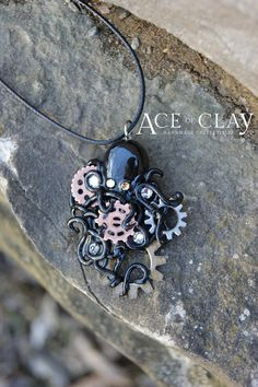 Polished Black Polymer Clay Octopus Necklace with by AceofClay