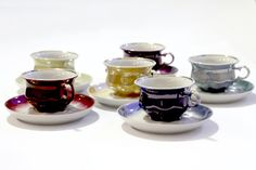 Vintage Tea Cup And Saucer Set 12 Piece Made in Soviet USSR Fine China Coffee Espresso Cup Set 1970's