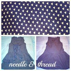 Immaculate Needle & Thread dress navy and taupe Needle & Thread sz small polyester shift Navy with taupe colored tiny triangles  Ruffled A-line cut, sleeveless  Never dried Urban Outfitters Dresses
