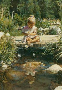 """Enviando flores"", do pintor realista contemporâneo Steve Hanks (1949-2015)"
