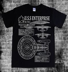 STAR TREK - The Next Generation Enterprise, NCC-1701-D Captain Picard, blueprints, schematics spec and stats T-shirt