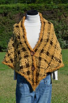 Hand woven women shawl / wrap poncho  with huge wood by Cozyyarn, $110.00