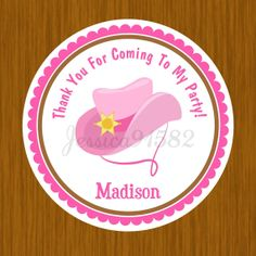 Cowgirl Hat Party Favor Stickers  Name and by jessica91582 on Etsy, $3.50