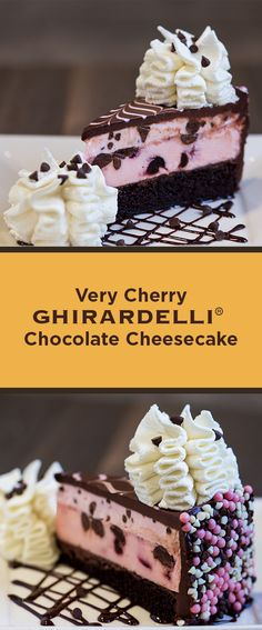 Cherry Cheesecake on a Layer of Fudge Cake, Loaded with Cherries and Ghirardelli® Chocolate. Cherry And Chocolate Cheesecake, Chocolate Cheesecake Recipes, Cherry Desserts, Chocolate Cherry, Chocolate Bars, Cheesecake Factory Desserts, Cheesecake Factory Copycat, Cheesecake Cake, Fudge Cake