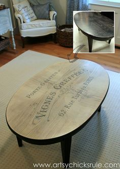 $6 Thrift Store Coffee Table Makeover {French Typography} Part 84