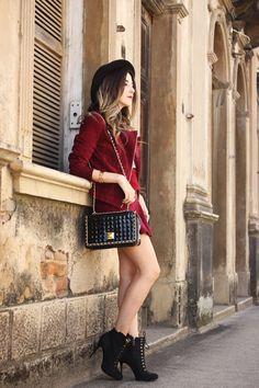 FashionCoolture - 29.03.2016 look du jour burgundy leather jacket black hat (2)