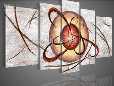 100% hand draw abstract modern oil painting on canvas Brown sphere