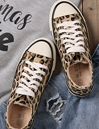 Leopard Printed Lace Up Canvas Sneakers - Bellelily Black Wedge Sneakers, Leopard Sneakers, Brown Sneakers, Best Sneakers, Slip On Sneakers, Painted Sneakers, Canvas Sneakers, Toe Ring Sandals, Toe Rings